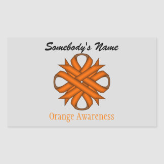 Orange Clover Ribbon Rectangular Sticker