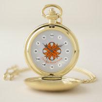 Orange Clover Ribbon (Rf) by K Yoncich Pocket Watch