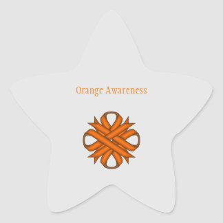 Orange Clover Ribbon Star Sticker