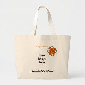 Orange Clover Ribbon Template Large Tote Bag