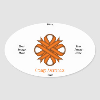 Orange Clover Ribbon Template Oval Sticker