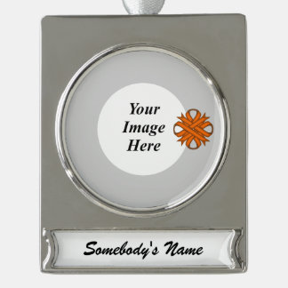 Orange Clover Ribbon Template Silver Plated Banner Ornament