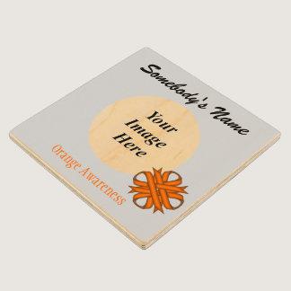 Orange Clover Ribbon Tmpl by Kenneth Yoncich Wood Coaster