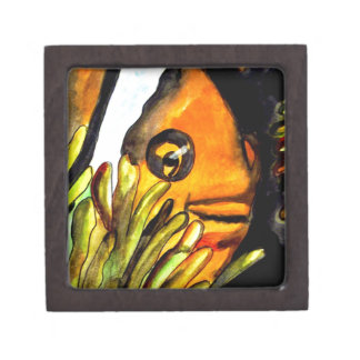 Orange Clown Fish watercolor original art painting Keepsake Box