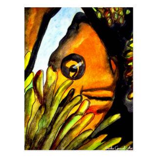 Orange Clown Fish watercolor original art painting Postcard