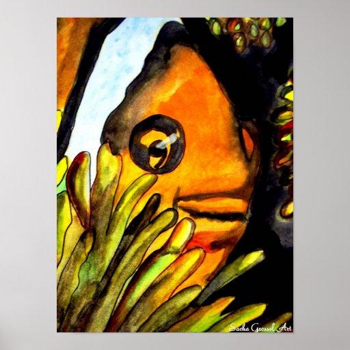 Orange Clown Fish watercolor original art painting Poster