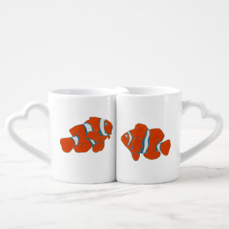 orange clown fishes coffee mug set