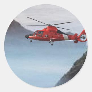 Orange Coast Guard Helicopter Classic Round Sticker