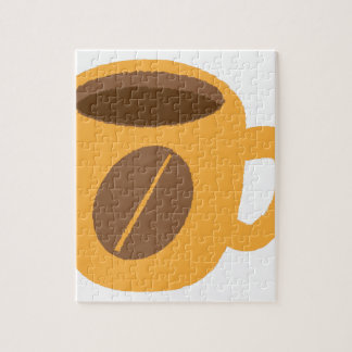 Orange coffee cup with a coffee bean jigsaw puzzle