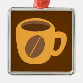 Orange coffee cup with a coffee bean metal ornament