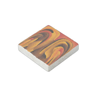 Orange color abstract stone magnet