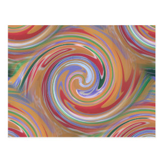 Orange color and rainbow swirl postcard