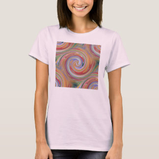 Orange color and rainbow swirl T-Shirt
