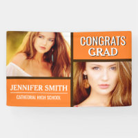 Orange Color Block Modern Photo Graduation Party Banner