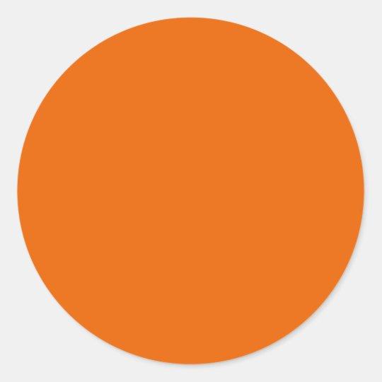 Orange Color Circle Classic Round Sticker