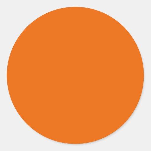 Orange Color Circle Classic Round Sticker : Zazzle