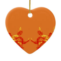 Orange color digital art with sculptures ceramic ornament