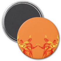 Orange color digital art with sculptures magnet