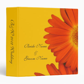 orange color gerbera daisy flowers 3 ring binder