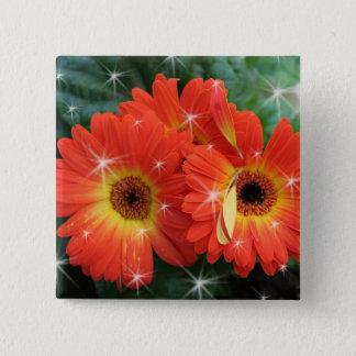 Orange color gerbera daisy with stars pinback button