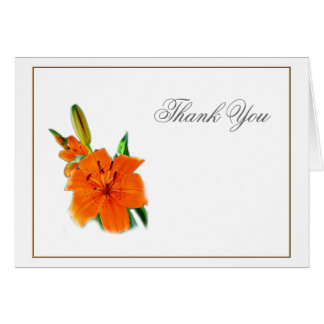 orange color lily flowers thank you note card greeting cards