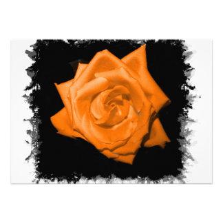 Orange colored rose against black back custom invite