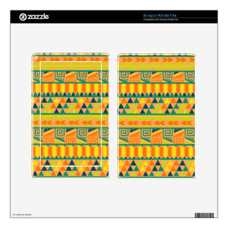 Orange Colorful Abstract Aztec Tribal Print Pattrn Kindle Fire Decals