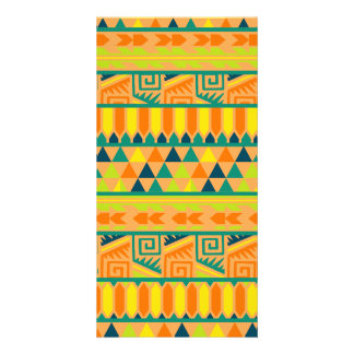 Orange Colorful Abstract Aztec Tribal Print Pattrn Picture Card