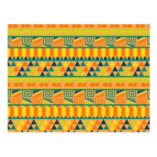 Orange Colorful Abstract Aztec Tribal Print Pattrn Postcard