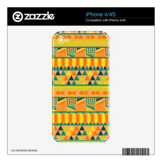 Orange Colorful Abstract Aztec Tribal Print Pattrn Skin For iPhone 4S