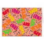 Orange Colorful Electronic Texting Art Abbreviatio Greeting Card