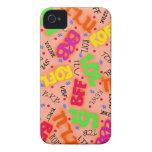 Orange Colorful Electronic Texting Art Abbreviatio iPhone 4 Case