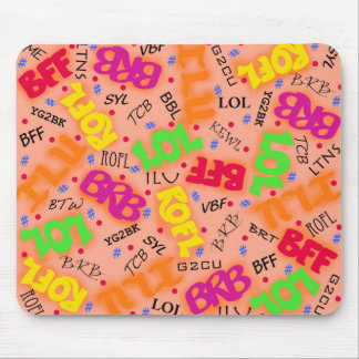 Orange Colorful Electronic Texting Art Abbreviatio Mouse Pad