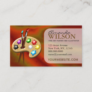 Fine art business cards zazzle orange colorful fine artist art store art teacher business card colourmoves