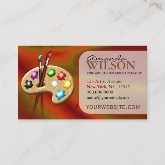 Orange Colorful Fine Artist Art Store Art Teacher Business Card