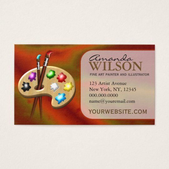 Orange Colorful Fine Artist Art Store Art Teacher Business Card ...