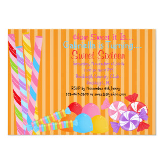 Orange Colorful Lots of Candy Sweet 16 Invitation
