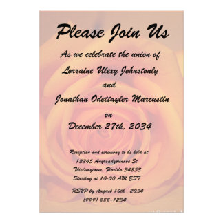 Orange colorized rose against orange background personalized invite