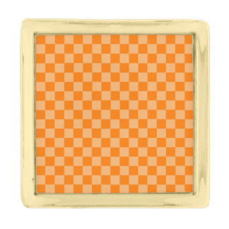 Orange Combination Classic Checkerboard Gold Finish Lapel Pin