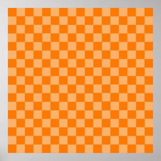 Orange Combination Classic Checkerboard Poster