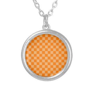 Orange Combination Classic Checkerboard Round Pendant Necklace