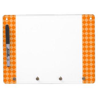 Orange Combination Diamond Pattern Dry Erase Board With Keychain Holder