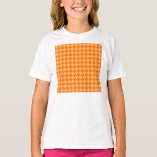 Orange Combination Diamond Pattern T-Shirt