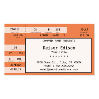orange concert ticket business card