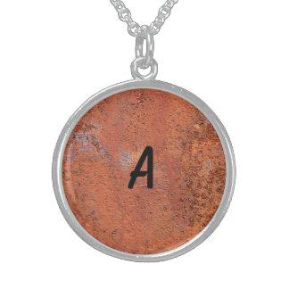 Orange Concrete Round Pendant Necklace