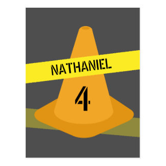 Orange Cone + Caution Tape Birthday Invitation Postcard