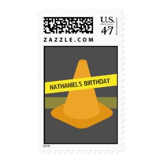 Orange Cone + Caution Tape Construction Birthday Postage