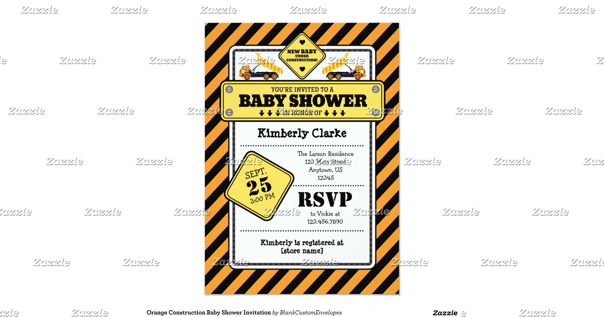 orange construction baby shower invitation zazzle
