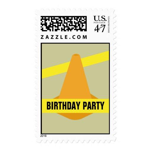 Orange Construction Cone & Yellow Tape Birthday Postage Stamp