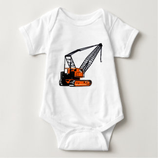 Orange Construction Crane Baby Bodysuit